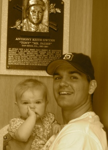 Clara and I visit Mr. Padre Tony Gwynn's Hall of Fame Plaque in Cooperstown, NY in May 2008